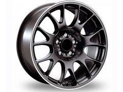 CH style wheel set in Matt black with polished lip edge